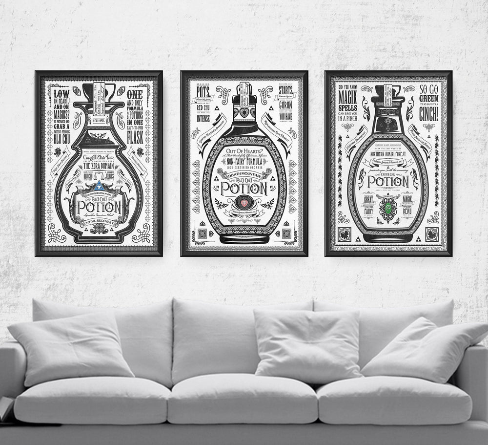 Legend of Zelda Potion Series Posters by Barrett Biggers - Pixel Empire
