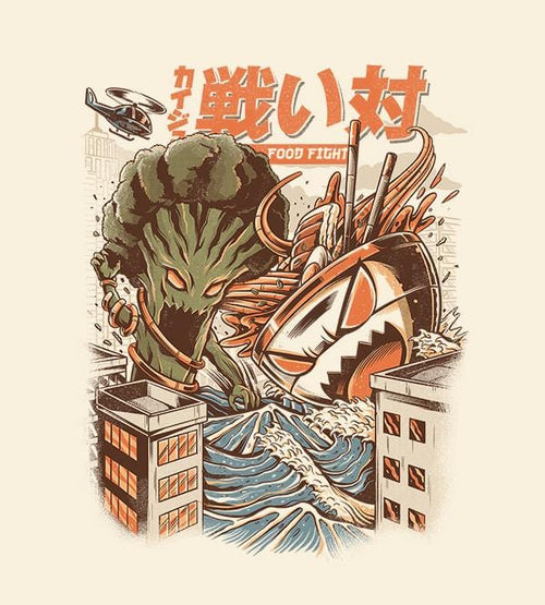 Broccoli Vs Ramen T-Shirts by Ilustrata - Pixel Empire