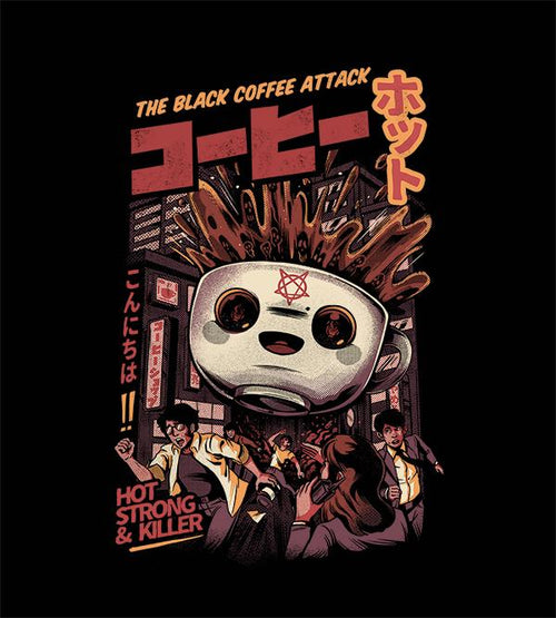 The Black Coffee Attack T-Shirts by Ilustrata - Pixel Empire