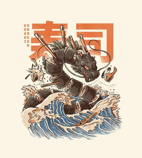 Great Sushi Dragon T-Shirts by Ilustrata - Pixel Empire