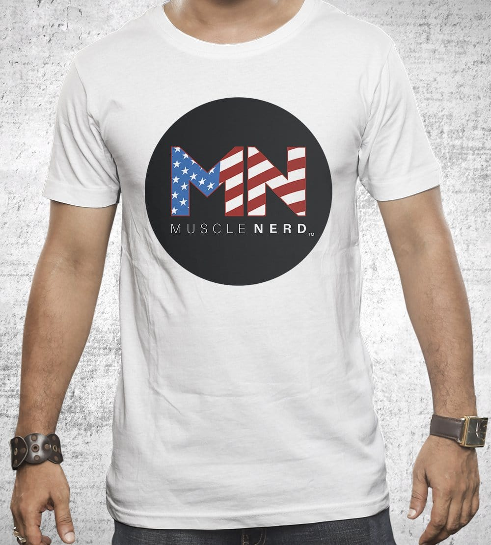 American Flag Muscle Nerd T-Shirts by Muscle Nerd - Pixel Empire