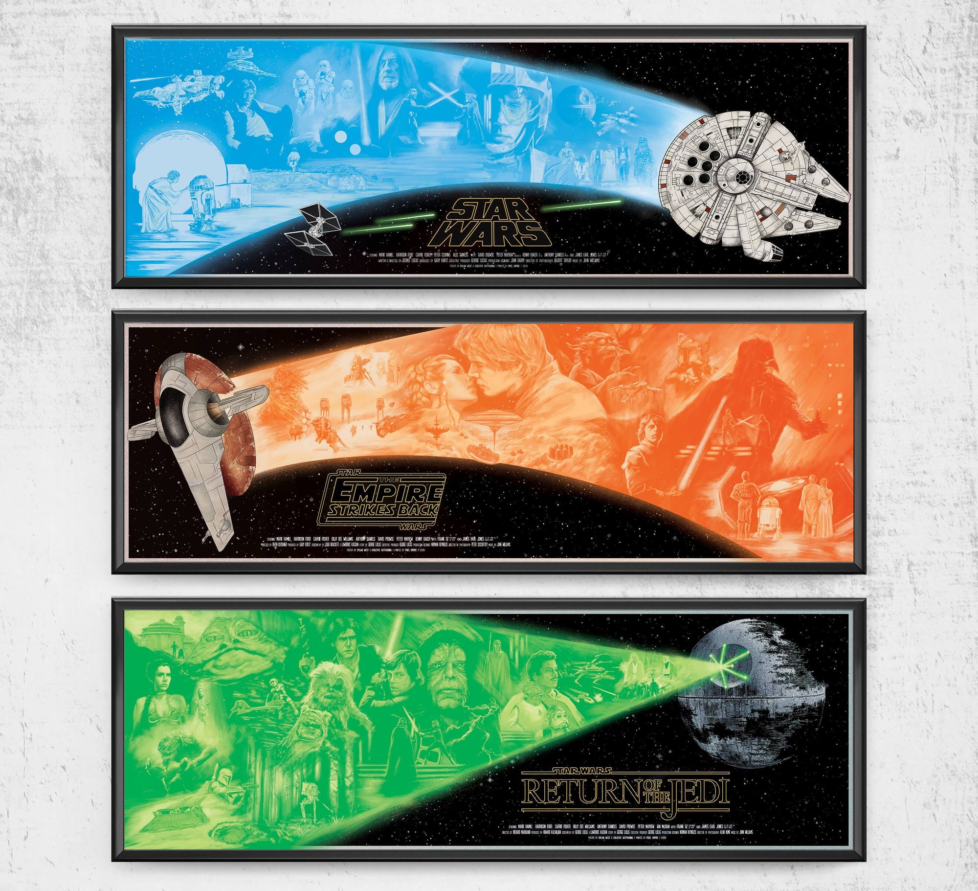 "Star Wars - Limited Edition Trilogy - 36"" x 11.75"" Prints Posters by Dylan West - Pixel Empire"