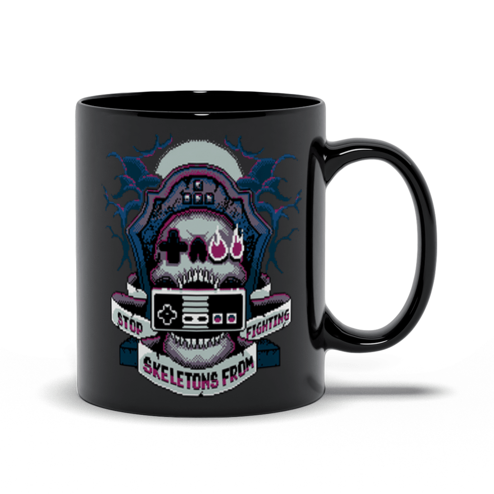 8-Bit SSFF Mugs by Stop Skeletons From Fighting - Pixel Empire