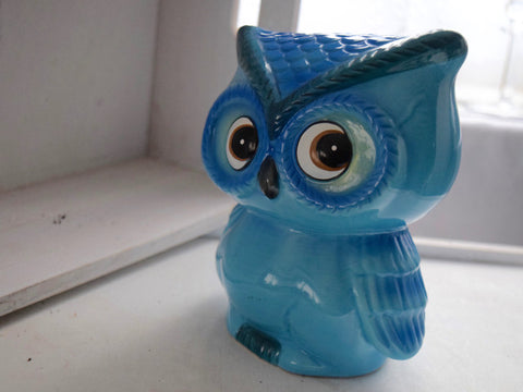 Blue Owl Ceramic Money Box Savings Bank