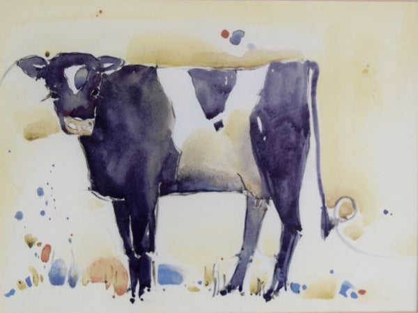 "Framed Watercolor ""Mable the Cow"" by Kate Philip"