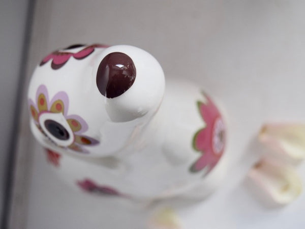 Floral Retro Ceramic Dog Money Box