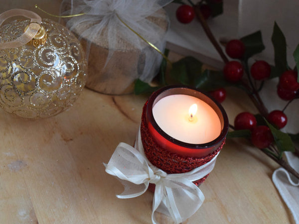 Red Glass Soy Candle Table Decoration