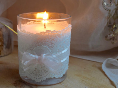 Handmade Soy Candle Lace Trim Table Decoration