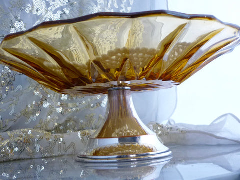 Bagley 1930's Art Deco Amber Glass Cake Stand