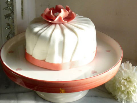 Peach, White Ceramic Baked with Love Cake Stand