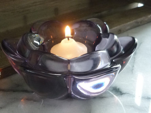 Purple glass flower-shaped Tea light candle holder table decoration