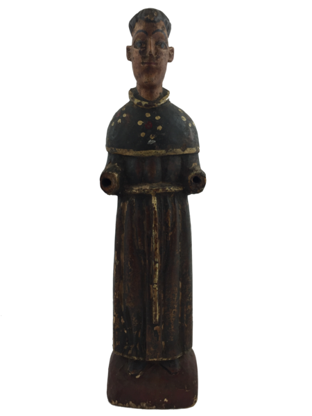 SOLD: Antique, Hand Carved and Painted Monk Figure