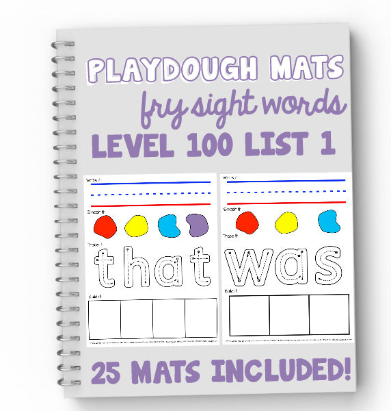 Fry Sight Words Playdough Mats Level 100 (List 1)