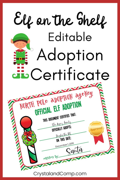 Editable Elf on the Shelf Adoption Certificate