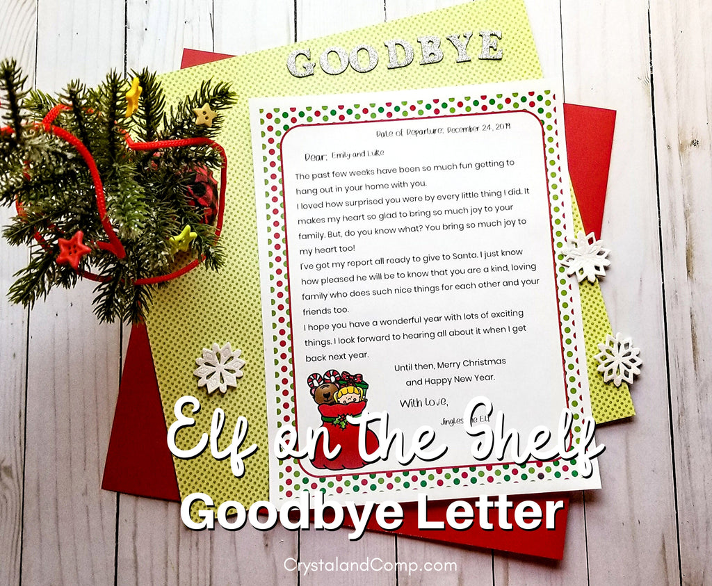 Printable Elf Goodbye Letter
