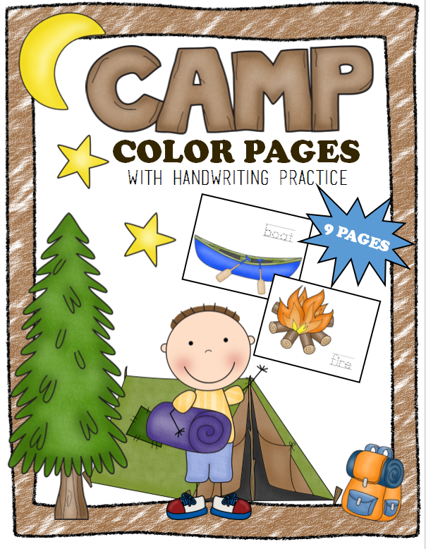 Camping Coloring Pages with Handwriting Practice