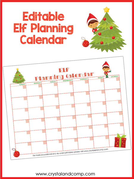 Elf on the Shelf Editable Calendar