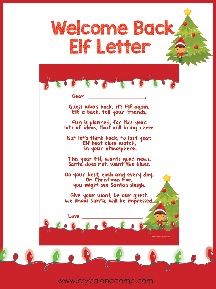 Elf on the Shelf Welcome Back Letter