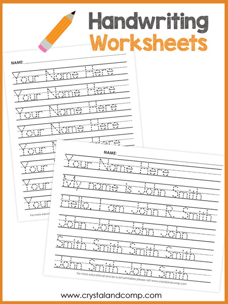 Handwriting Worksheets for Kids (You Can Customize and Edit)