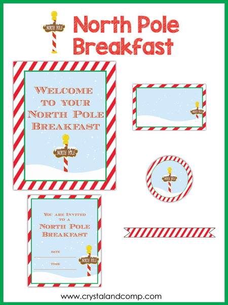 North Pole Breakfast Printables for Elf on the Shelf
