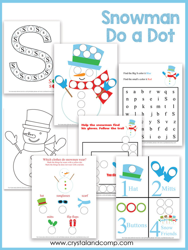 Snowman Do a Dot Printables