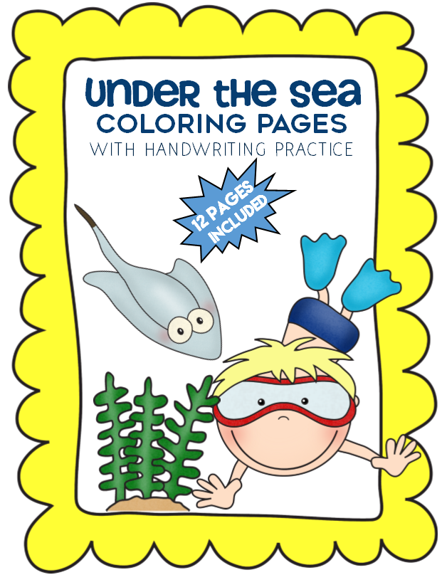 Under the Sea Coloring Pages with Handwriting Practice