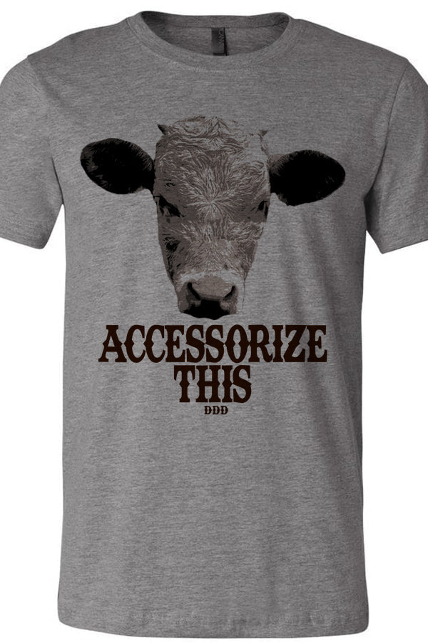 Accessorize This Cow Tee Gray