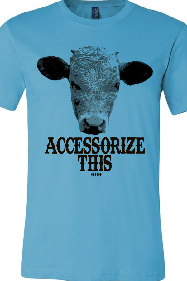 Accessorize This Cow Tee Turquoise
