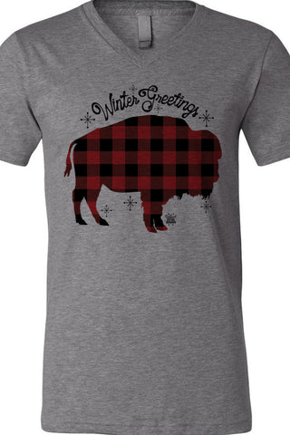 Buffalo Plaid Buffalo Winter Greetings V Neck