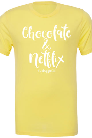 Chocolate & Netflix #todaygoals yellow tee