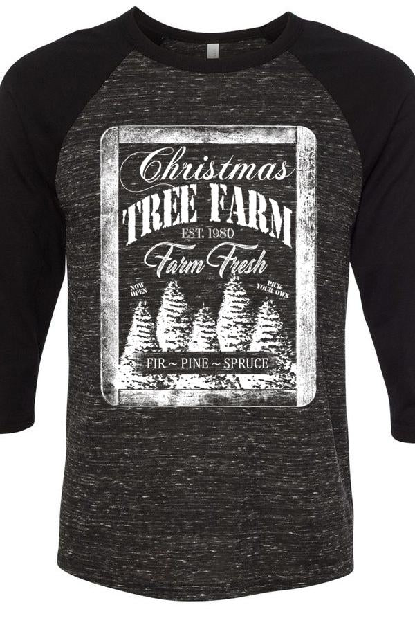 Christmas Tree Farm Marble Raglan