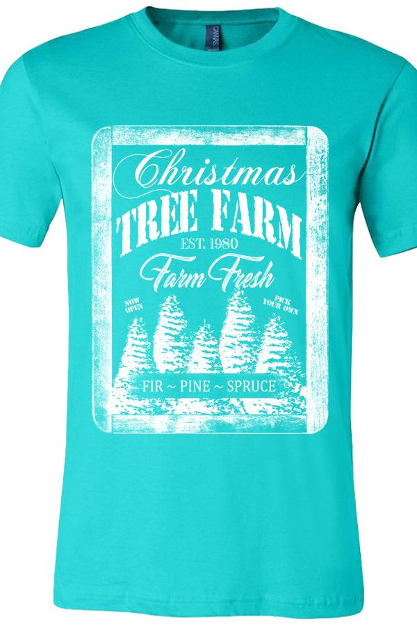 Christmas Tree Farm Teal Tee