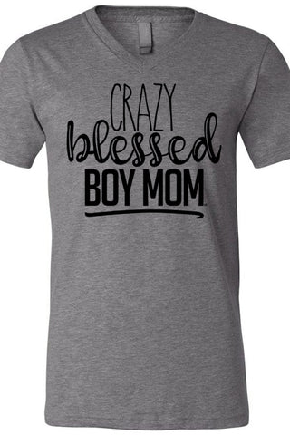Crazy Blessed Boy Mom V Neck Tee
