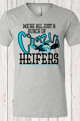 Crazy Heifers V Neck Tee