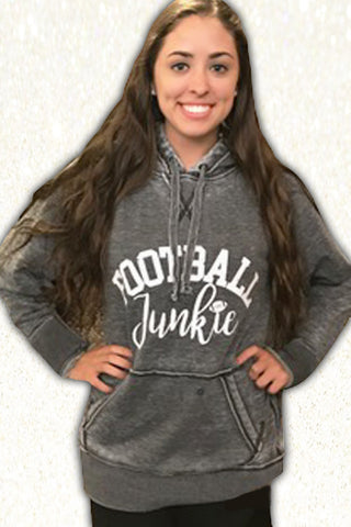 Football Junkie Acid Washed Hoodie Dk Heather Charcoal