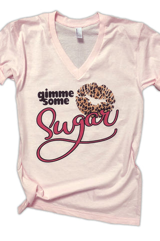 Gimme Some Sugar Leopard Lips V Tee