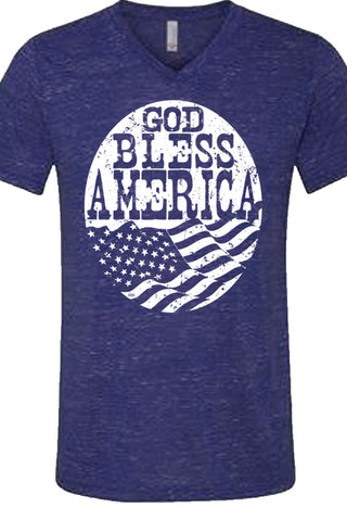 God Bless America Flag Marble Tee