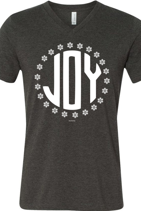 Joy Snowflakes V Neck Heather Dark Gray
