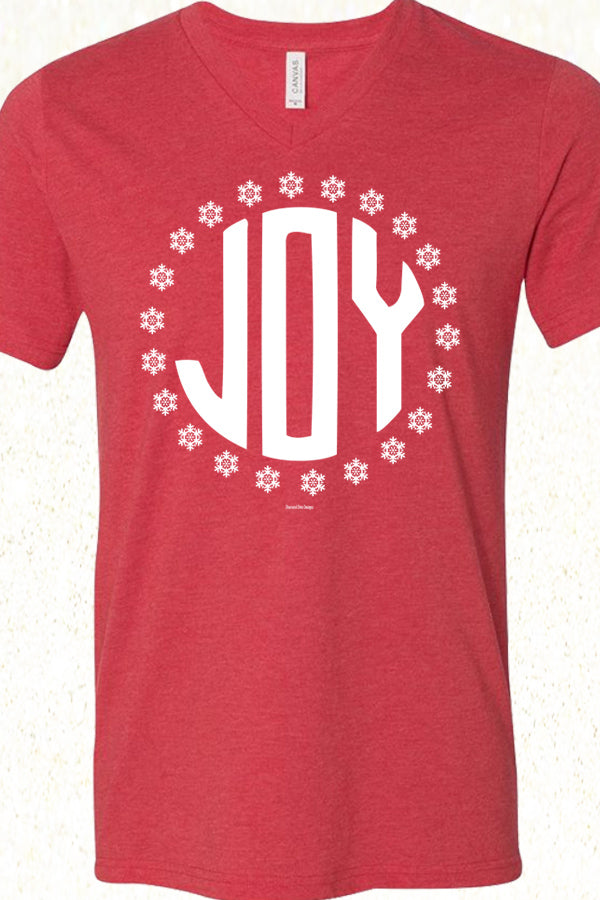 Joy Snowflakes V Neck Heather Red