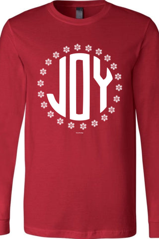 Joy Snowflakes Long Sleeve Cardinal