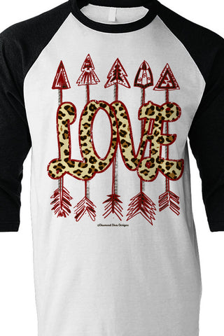Leopard Love Arrows Baseball Tee