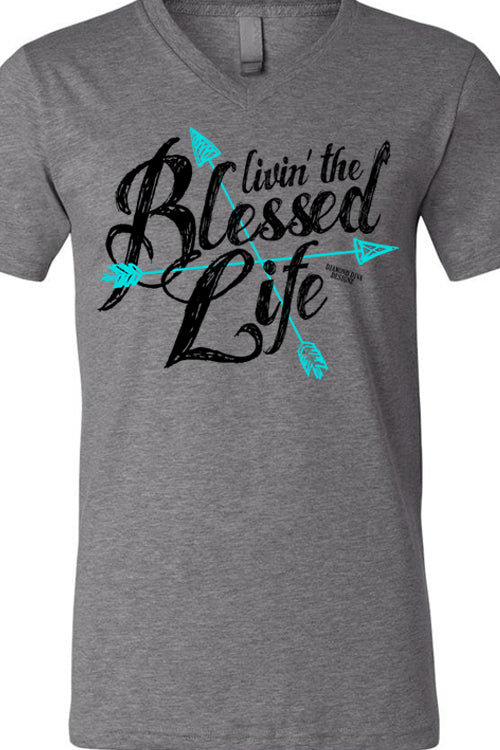 Livin' The Blessed Life Deep Heather V Tee