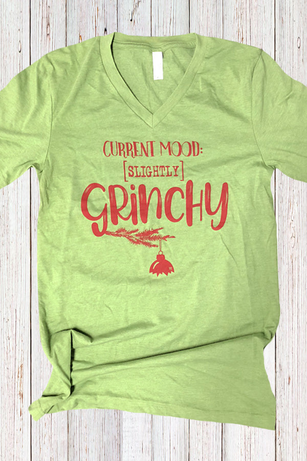 Current Mood Slightly Grinchy V Neck Tee