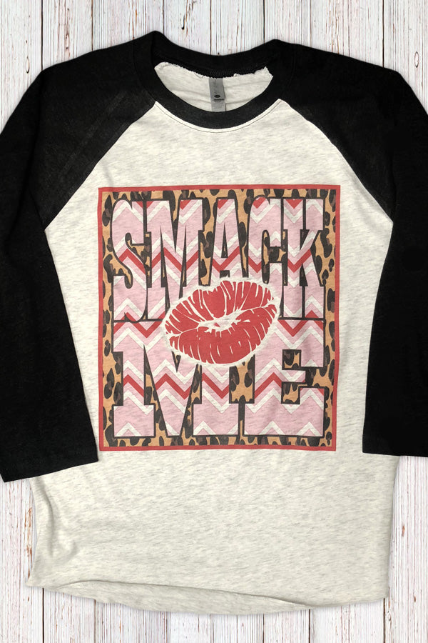 Smack Me Leopard and Lips Raglan