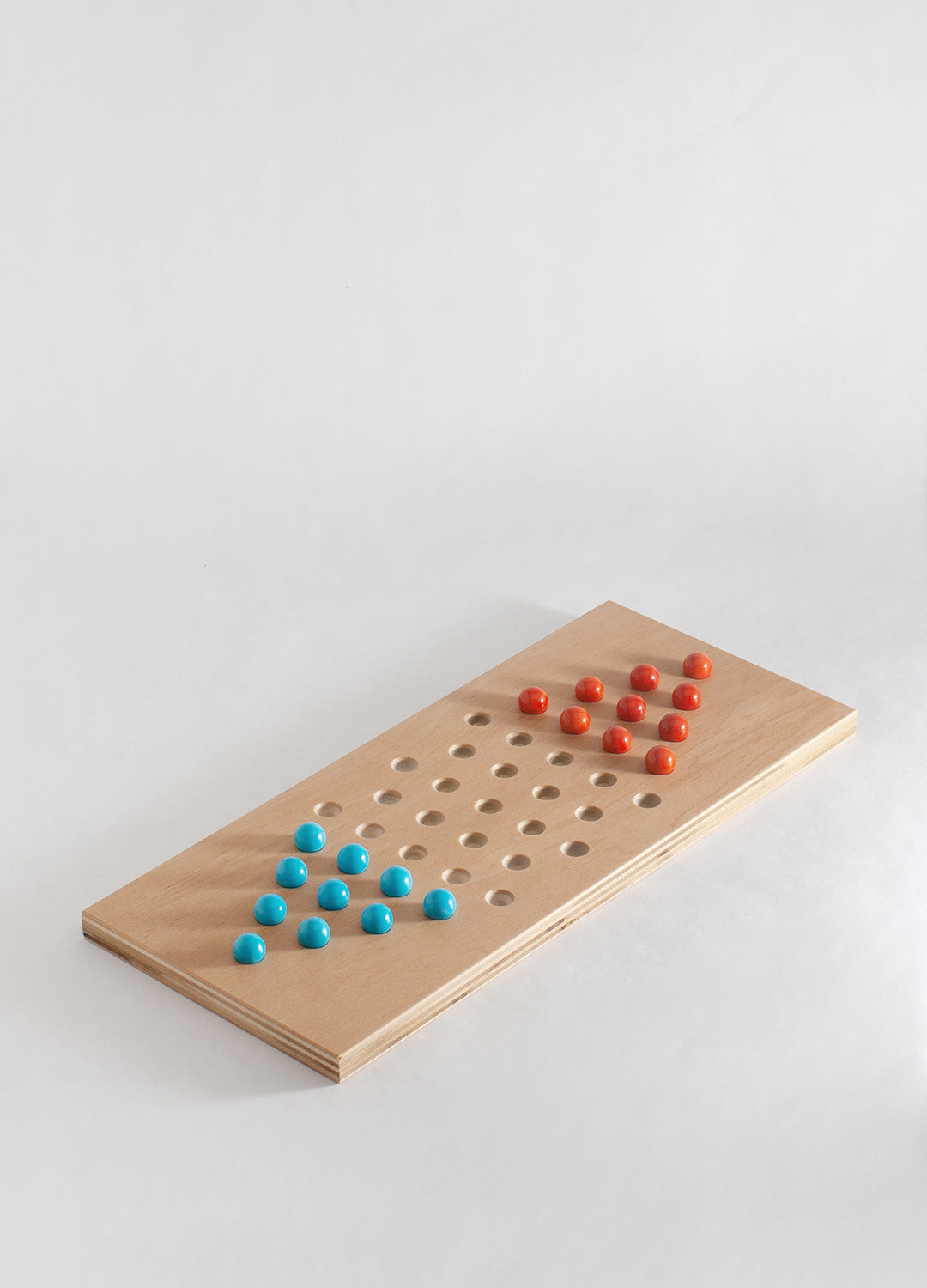 Chinese Checkers - Light Blue & Red Orange