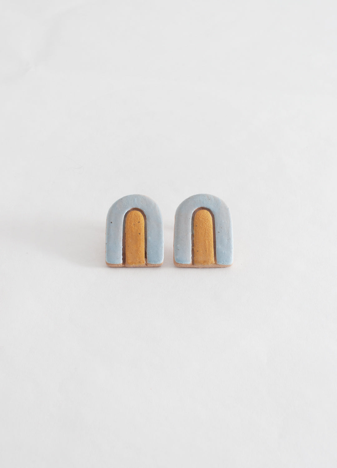 Large Arch Earrings  - Light Blue
