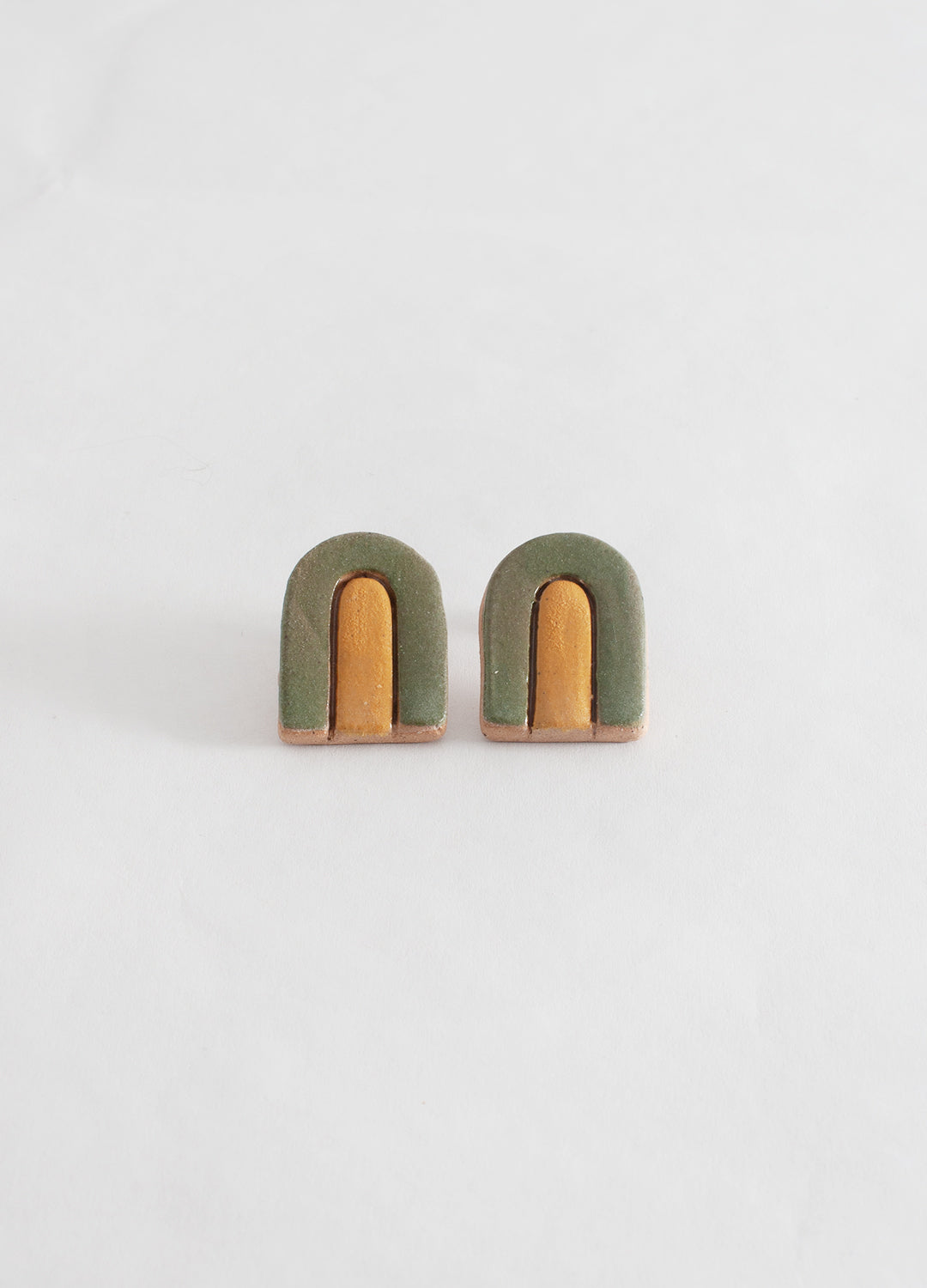 Large Arch Earrings  - Avocado Green