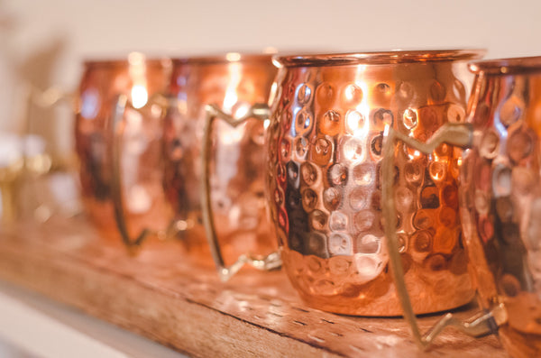 Handmade, Hammered Copper Mugs Set of 4