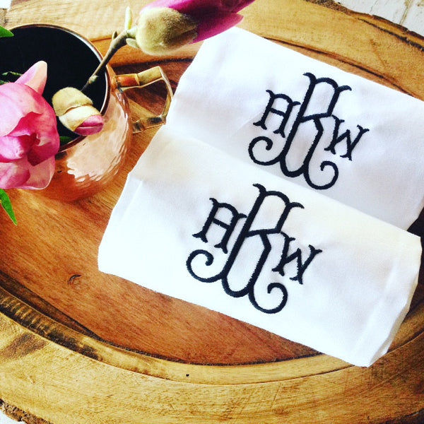 White Linen Hand / Bar Cart Towel with Monogram