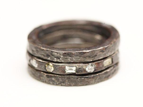 Oxidized Sterling Silver Diamond Ring Stack